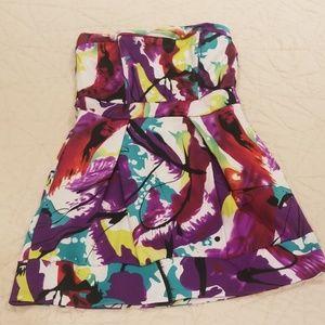 Speechless Multicolored Strapless Mini Dress